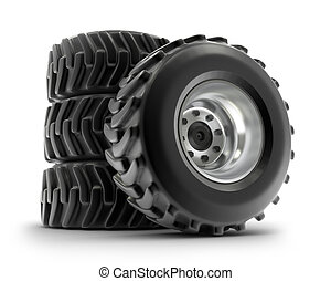 Tractor heavy wheels set, isolated - Tractor heavy wheels...