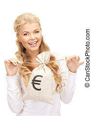 woman with euro signed bag - picture of woman with euro...