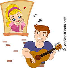 Serenade - Illustration of a Pinup Guy Serenading a Girl