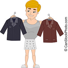 Formal Wear - Illustration of a Pinup Guy Choosing Which...
