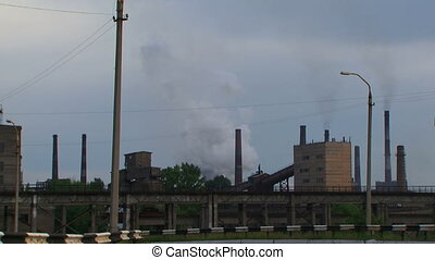 Harmful industrial - Factory pollutes the environment large...
