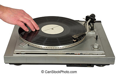Vintage gramophone - Hand rotating a gramophone record on a...