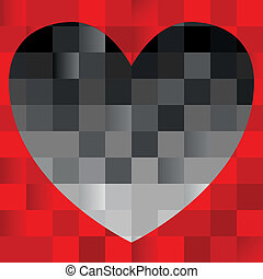 black heart on red