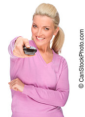 Woman with remote control