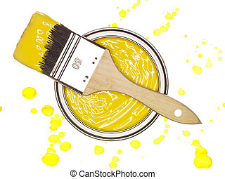 Yellow Paint can with brush - Yellow Paintcan and brush from...
