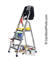 Stepladder with paint cans and brushes isolated on white...