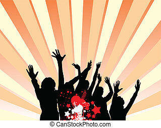 313jpg - party illustration with crowd silhouettes and...