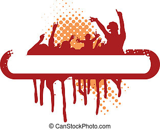 173jpg - party illustration with crowd silhouettes and...