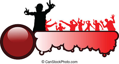 103jpg - party illustration with crowd silhouettes and...