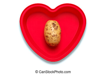I love potato concept photo. - Conceptual photo of a potato...