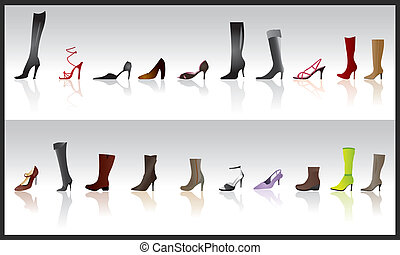 female shoe and boot icons
