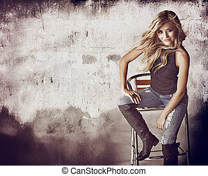 grunge wall and woman
