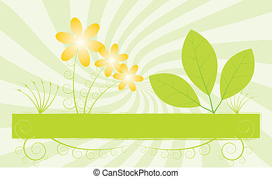 spring background with leafs - vector illustration