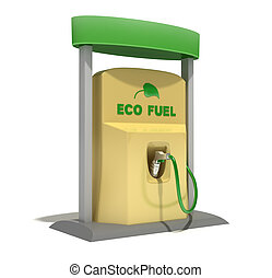 Eco Fuel station isolated on white