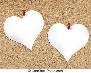 Cork bulletin board with heart shap