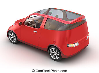 Compact Red Car 3D concept on white - Compact Red Car 3D...