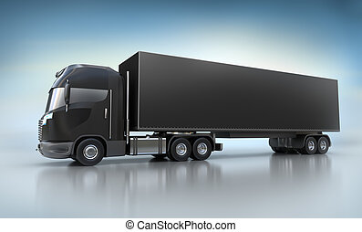 Black Truck illustration on white - Black Truck...
