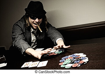 All in Poker - Man with hat and glasses playing underground...