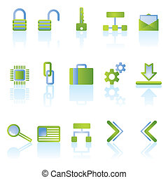 reflect security icons - vector icon set