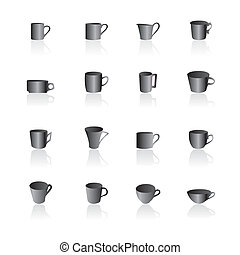 coffee and tea cups icons