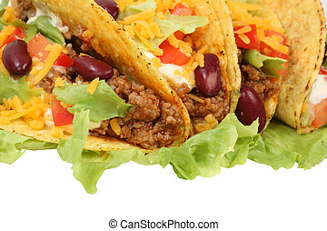 Mexican tacos isolated over white background