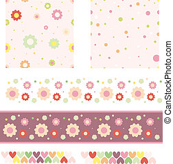 Floral Background, Trims, Hearts Vector