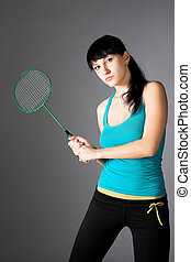 woman with badminton racket - beauty woman with badminton...