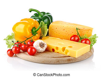 yellow cheese with fresh vegetables