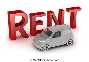 Rent a car isolated on white