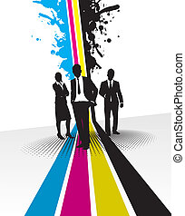 people on a splash background - people on a cmyk line...