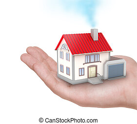 The house in human hand isolated