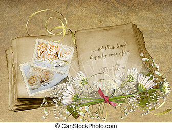 Wedding Album - Vintage wedding album with bouquet on...