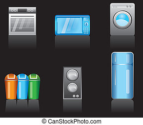 kitchen equipment icons - vector icon set