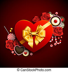 heart shape gift - Red heart shape gift with sweets...