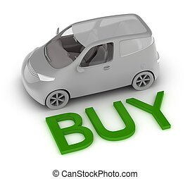 Buy a car isolated 3D concept