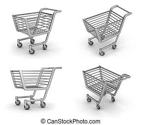 Shopping Cart set on white background.