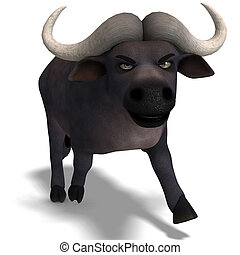 very cute and funny cartoon buffalo 3D rendering with...