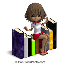 cute little cartoon school girl with many books 3D rendering...
