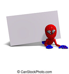funny cartoon hero that crawls like a spider. 3D rendering...