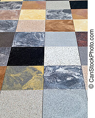 Display of different stone granite floor tiles for outdoors...