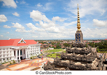 Vientiane, capital of Laos. Beautiful View from Patuxay...