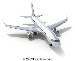 Airplane on white background 3D image My own design