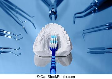 cepillo de dientes, yeso, dental, molde, rodeado, dental,...