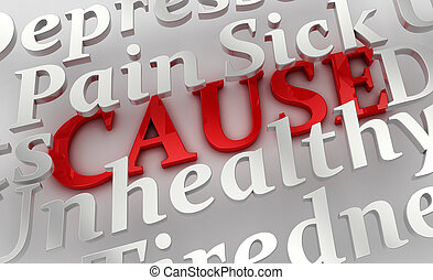 Underlying cause - Conceptual image of health related terms...