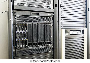 Blade servers in rack