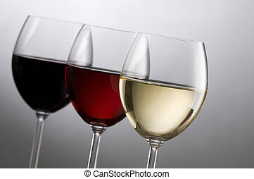 Wines - Three glasses of wine close up shoot