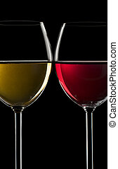 Wine - Red and white wine in glass close up