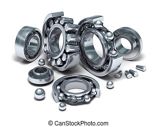 Sliced Bearings set and details 3D image