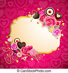 valentine`s day background - beautiful pink and golden...