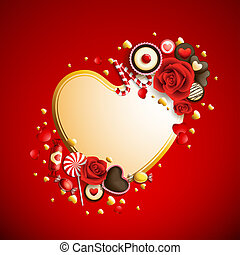 valentine`s day background - beautiful red and golden...